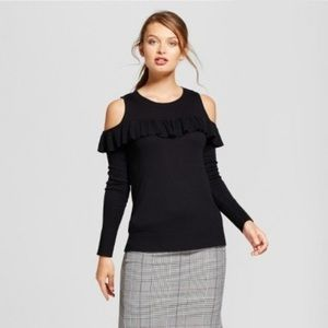 A New Day Cold Shoulder Ruffle Sweater
